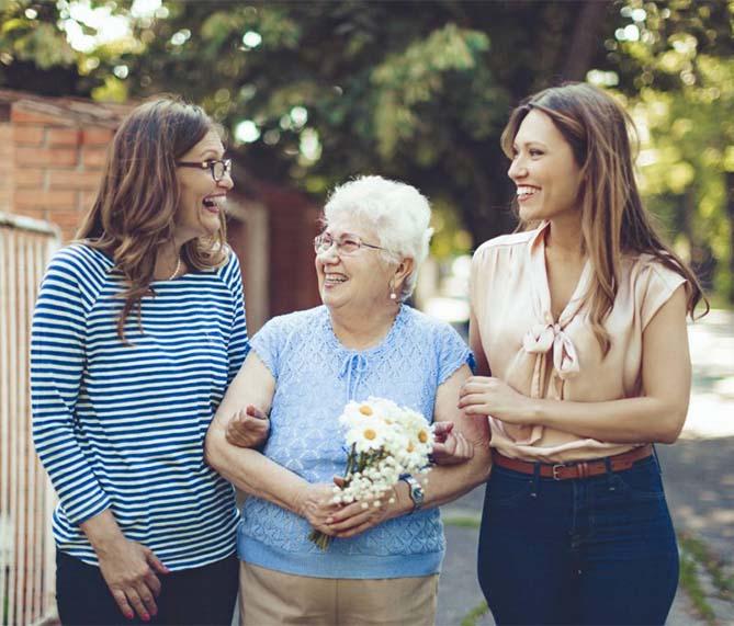 grandma with granddaughters